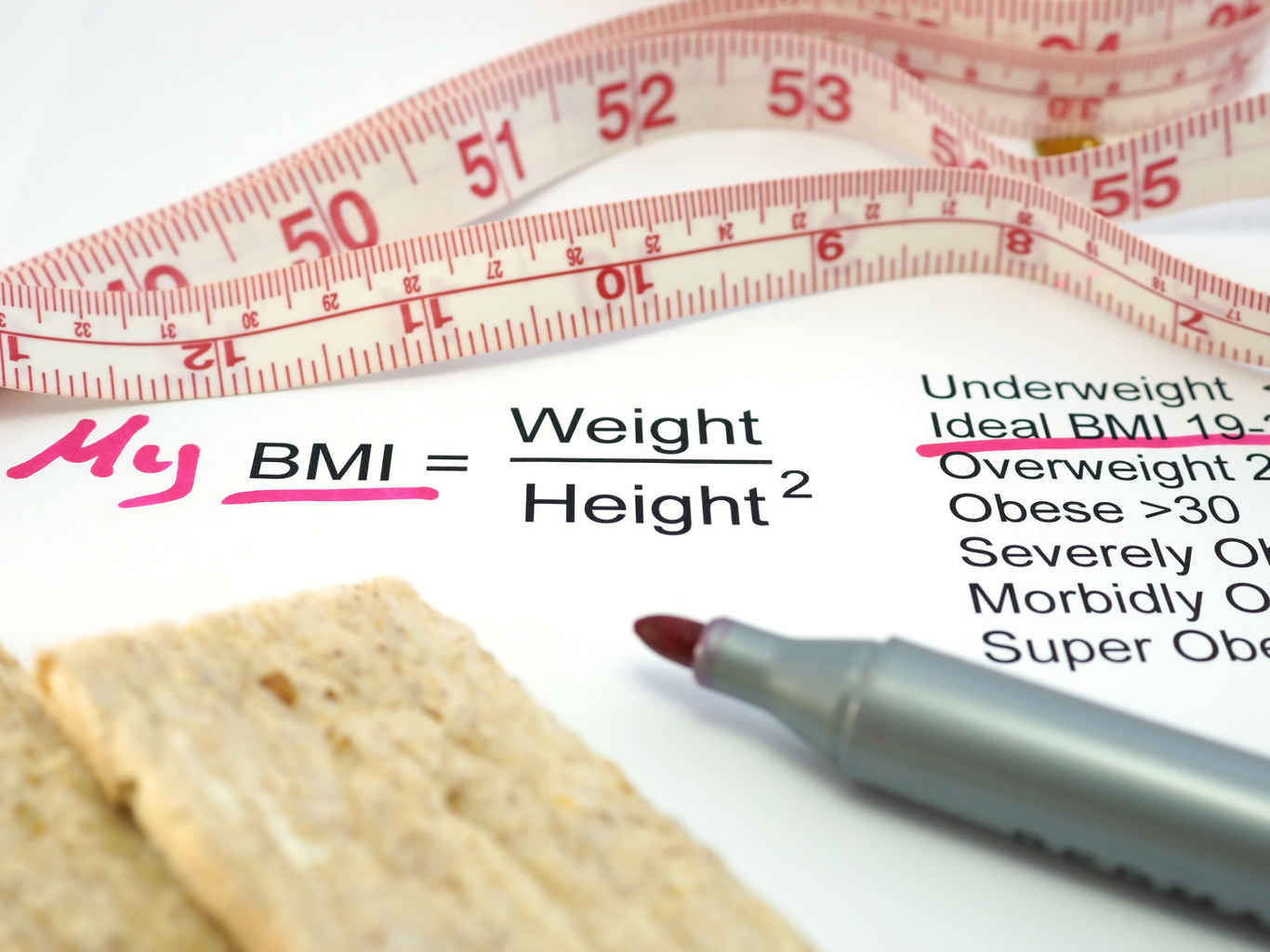 BMI = weight / height ^ 2